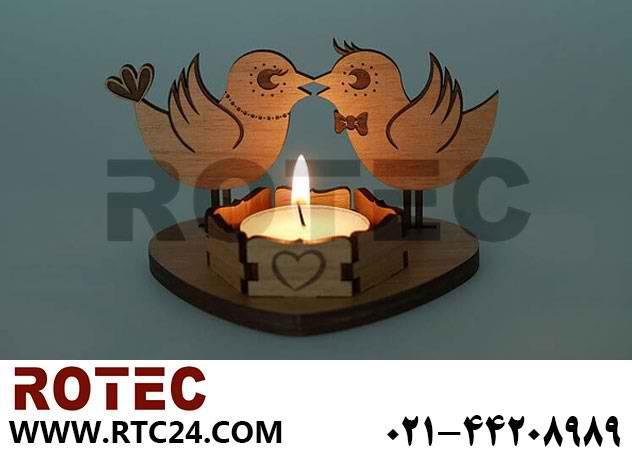 ساخت جا شمعی چوبی با دستگاه لیزر